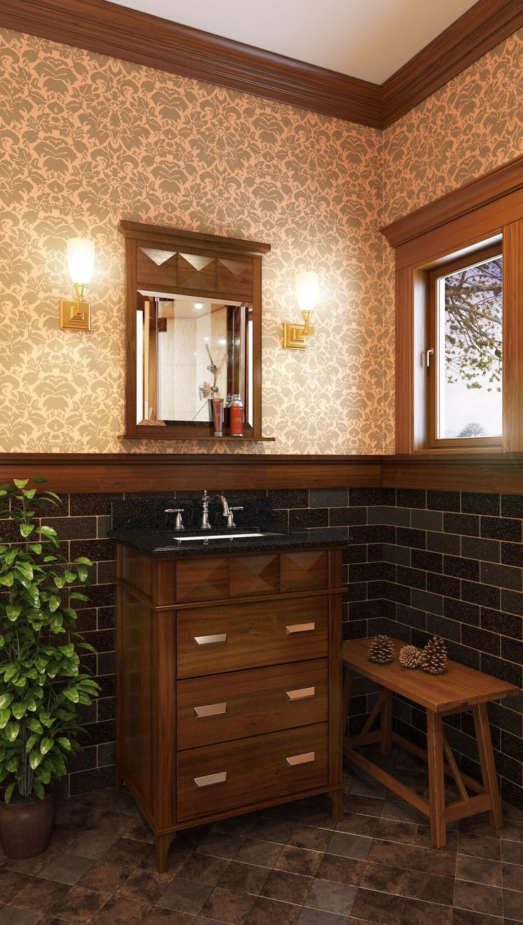 Weave pattern honed in a mesh on unfinished furniture bathroom vanity - Lexington Modern 25 Vanity With Rich Chocolate Brown Finish And Faceted Carvings And Clean