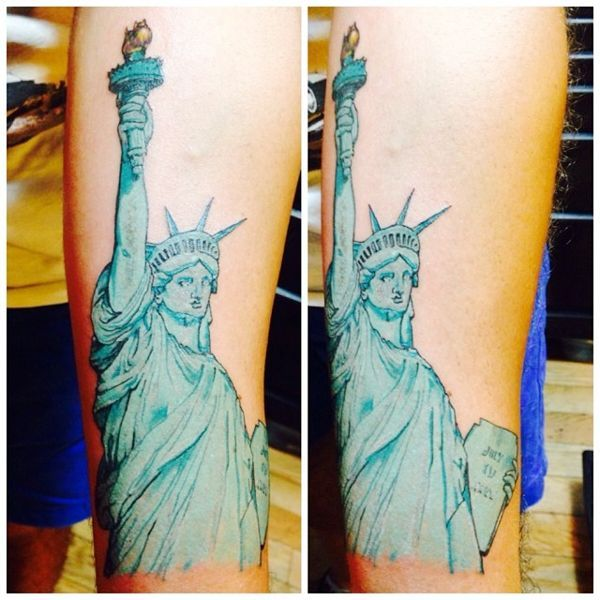 15 Of The Most Insane New York City-Inspired Tattoos #refinery29  http://www.refinery29.com/nyc-inspired-tattoos#slide-2   Created by artist Caesar Bacchus, this Statue of Liberty tattoo almost looks like a watercolor painting. We're obsessing over how he got that shade of green just so.