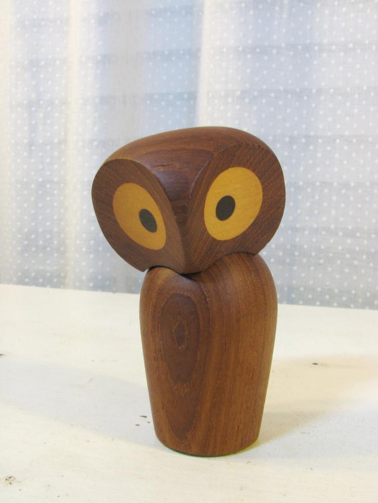 Rare Skjode Skjern Danish Modern Teak Owl Figurine 22500 Via Etsy