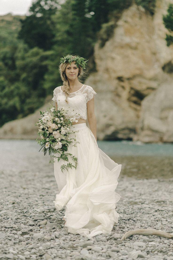 boho wedding dress, two piece, corded lace, silk chiffon
