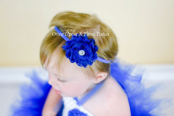 Royal Blue Shabby Flower Headband - Skinny Elastic Cobalt Shade Solid Color Winter or Christmas Hairbow - Baby Infant Toddler Photo Prop by OnceUponATimeTuTus on Etsy https://www.etsy.com/listing/190736795/royal-blue-shabby-flower-headband-skinny