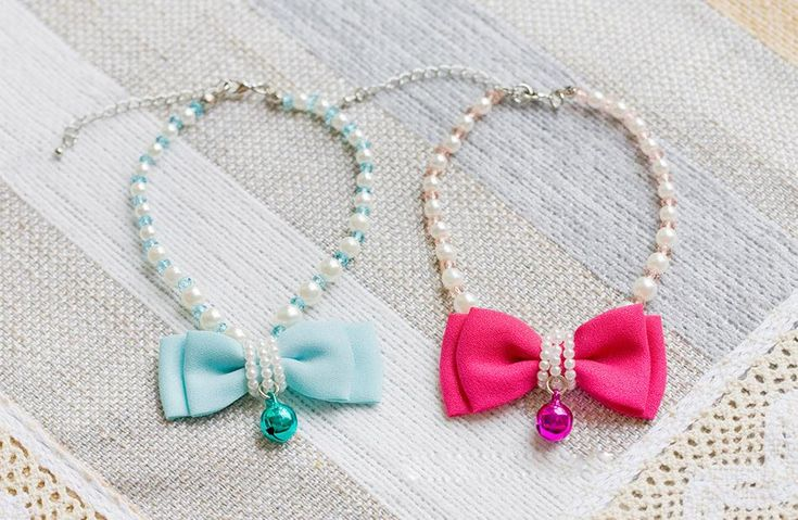 Pearl+BowTie+Pet+Necklace  Neck+Size:+23-27cm