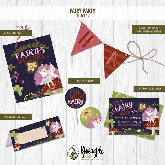 Fairy Birthday Invite Fairy Birthday Invitation Girl