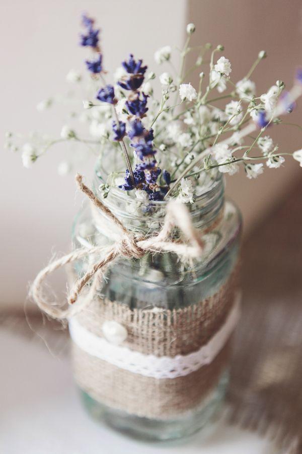 Pretty Pink Country Seaside Wedding Hessian Lace Jar Flowers Lavender http://www.cristinarossi.co.uk/