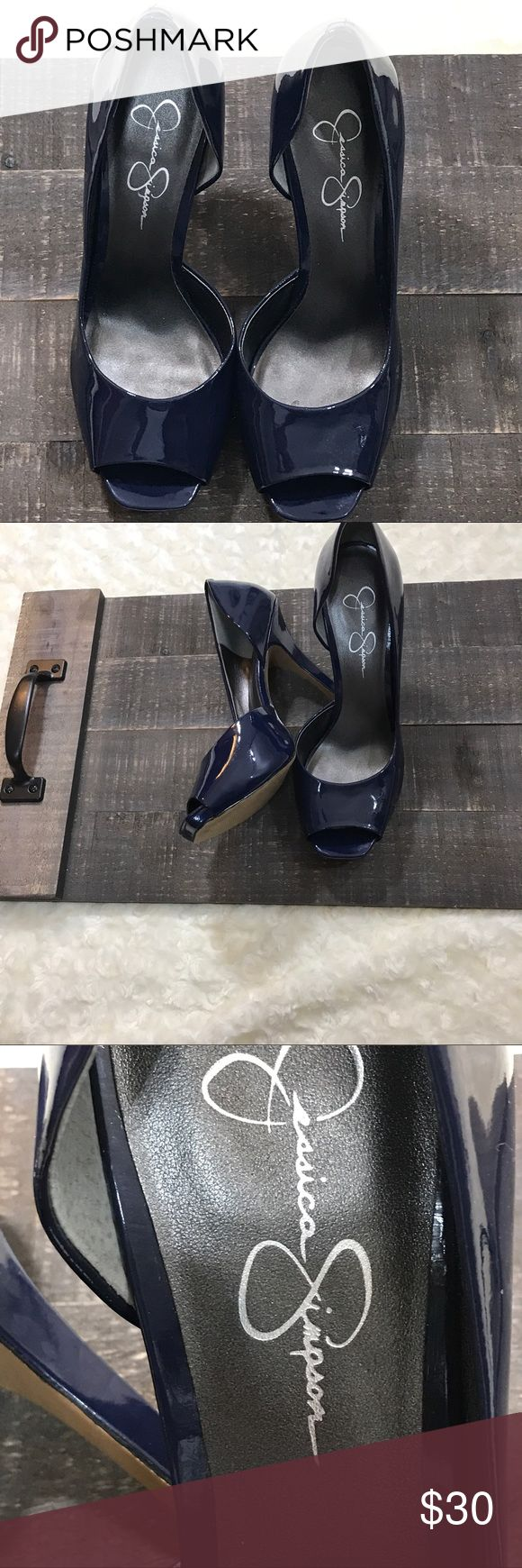 """Jessica Simpson Womens Blue Patent Leather Shoes Jessica Simpson Womens Blue Patent Leather Peep Toe Heels -- see pictures for details  NO SIZE listed**  insole - 9.5"""" heel height - 4"""" Jessica Simpson Shoes Heels"""