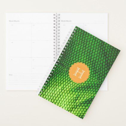 Exotic Faux Iguana Scales Pattern Monogram Planner - pattern sample design template diy cyo customize