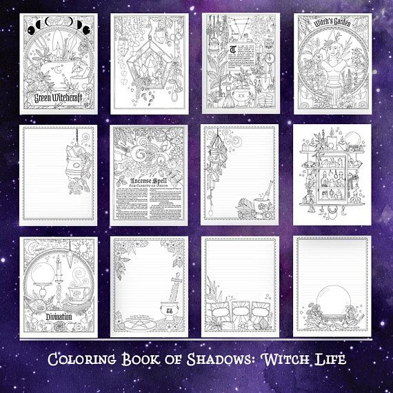 Coloring Book Of Shadows Witch Life Etsy In 2021 Book Of Shadows Coloring Books Witch
