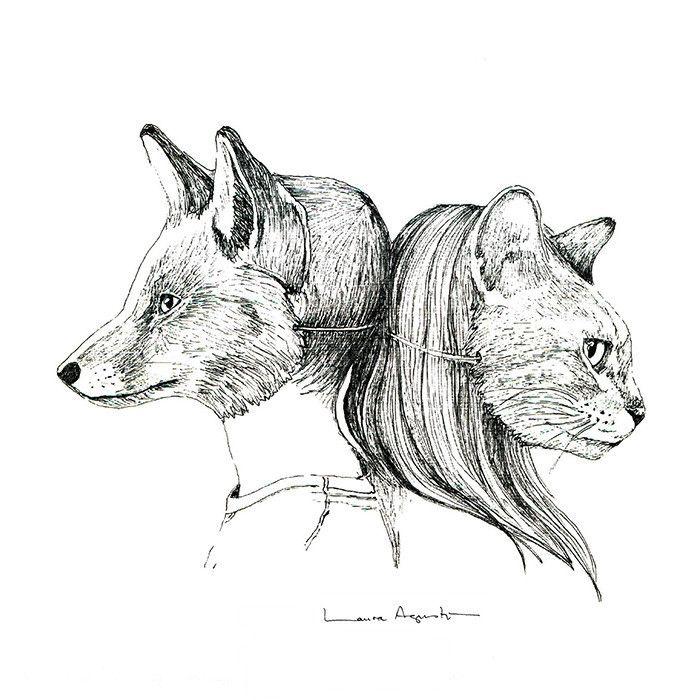 Lámina Laura Agustí - Mr. Foxlutton vs Miss Catstroud