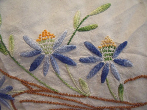 Vintage Tablecloth white blue yellow floral by VintagePurrfection, $14.00