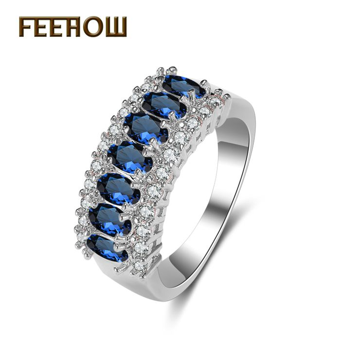 FEEROW European Jewelry White Gold Plated Rings With Simulated Sapphire Oval Cubic Zirconia For Women Wedding FWRP021