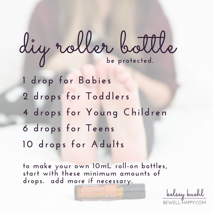 Essential oil dilution chart for babies, toddlers, young children, teens and adults.  Essential oil roller bottle recipes.  dōTERRA's Certified Pure Therapeutic Grade essential oils are guaranteed 100% pure, natural and safe.  Learn more at www.bewell-happy.com.