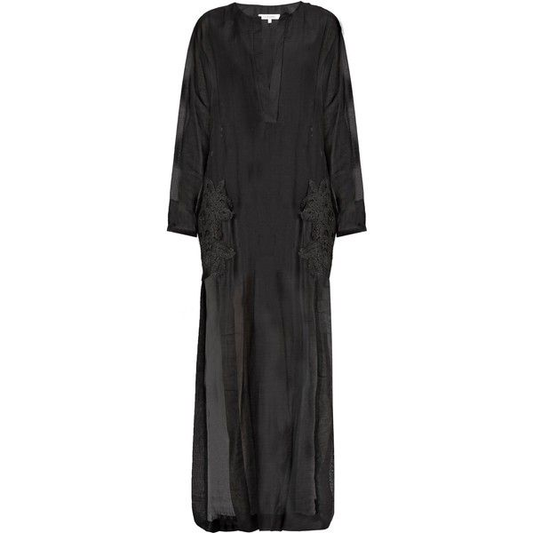 Lila Eugenie 1716 crochet-appliqué voile kaftan (5.705 ARS) ❤ liked on Polyvore featuring tops, tunics, black, caftan tunic, embellished kaftans, kaftan tunic, macrame top and applique top