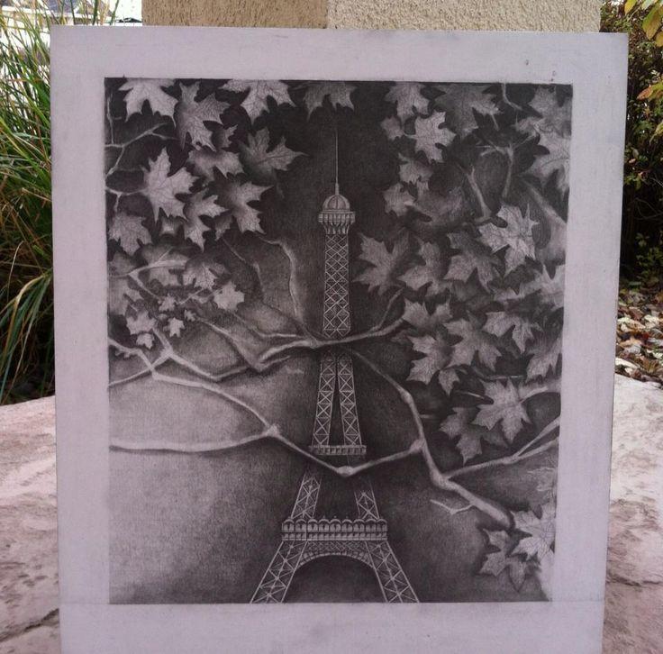 Eiffel Tower Drawing, almost complete Drawn by: Art by Anj www.artbyanj.com