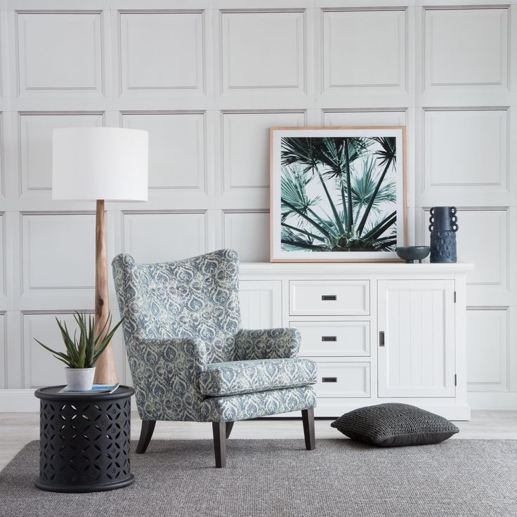 Grayson designer chair with bagru side table, sigrid floor lamp and hamptons buffet