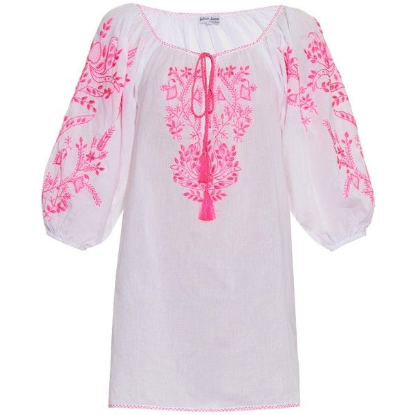 Juliet Dunn Hand-embroidered cotton kaftan ($283) ❤ liked on Polyvore featuring tops, tunics, pink white, caftan tunic, white caftan, white tunic, pink top and white embroidered top