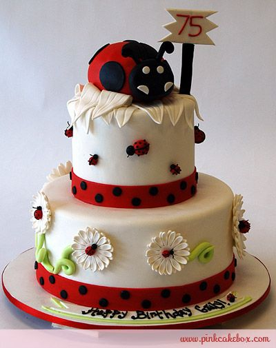 75th Ladybug Birthday Cake by Pink Cake Box in Denville, NJ.  More photos at http://blog.pinkcakebox.com/75th-birthday-ladybug-cake-2010-07-15.htm  #cakes