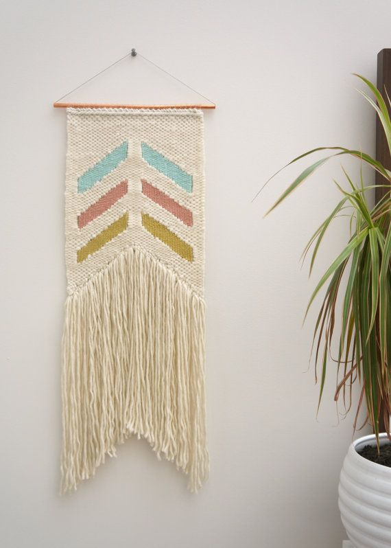 """This lovely geometric tapestry I call """"Chevron Devon"""" with her soft tones. This weaving is part of the Malé collection where I wanted to create a"""