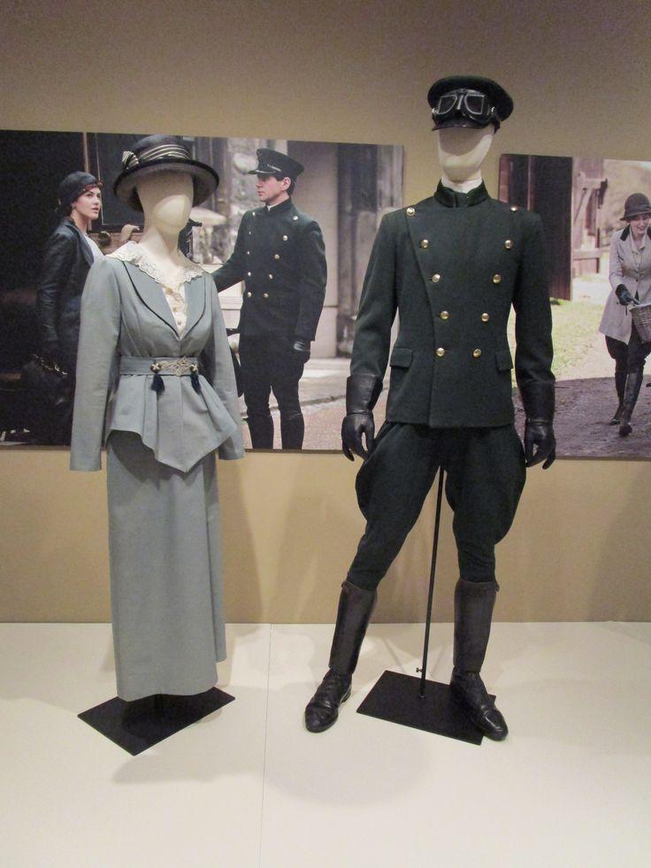 2016-08-26 Taft Museum Downton Abbey Exhibit - Sybil Crawley's cotton and silk gray suit and Tom Branson's wool chauffeur's uniform (Season 1)