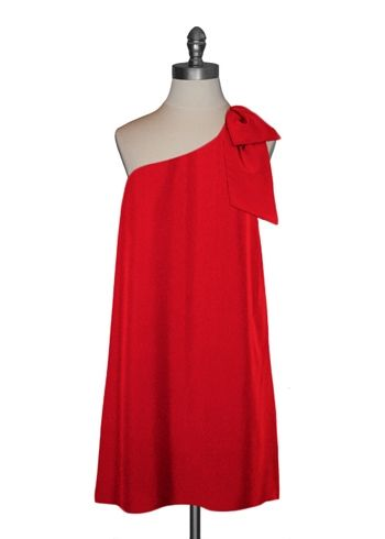 Bow Shoulder Trapeze Dress in Poppy Red