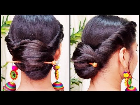 Quick Indian Bun Hairstyle For Navratri Party Hairstyles For Medium Long Hair Indian Hairstyles Y Hair Styles Bun Hairstyles For Long Hair Bun Hairstyles