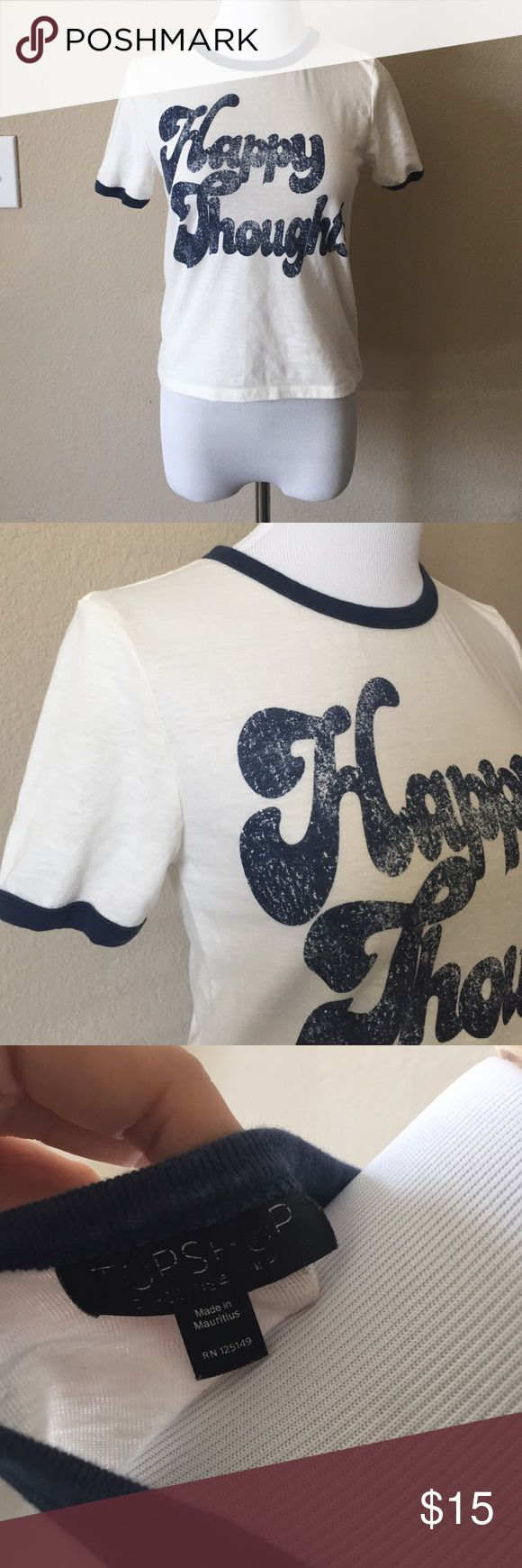 Topshop happy thoughts camp tshirt Adorable Topshop t shirt. This shirt would fit a very petite woman or a little girl or boy around a size 10. The size is worn off the label but this is around a petite xs Topshop Tops Tees - Short Sleeve