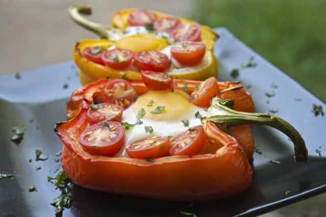 Baked eggs in bell peppers - I'd skip the mushrooms.  Would LOVE to try adding things like spinach or asparagus as well.  YUM!