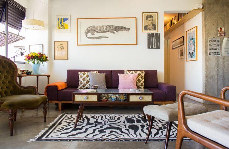 Sala De Estar Sofa Roxo ~  de Sofá Roxo  Veludo roxo, Sala de estar e Design de interiores