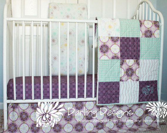 purple crib bedding sets 2