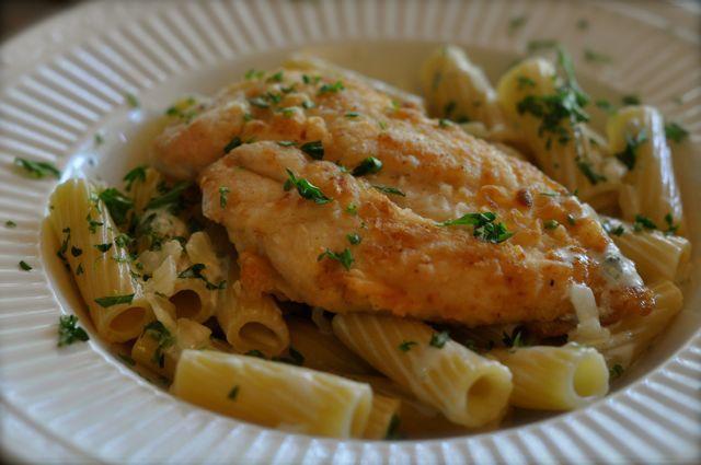 Biltmore Estate Chicken Breasts Over Rigatoni – rich Gorgonzola sauce covers grilled chicken and pasta.