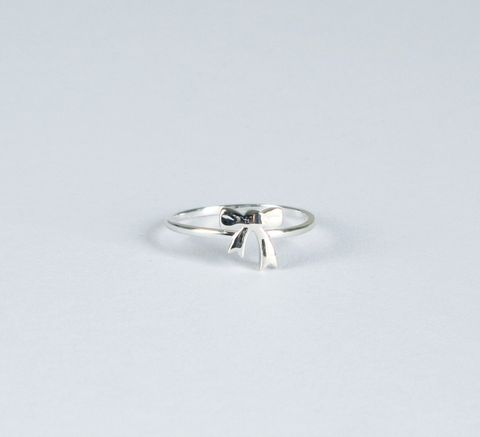 Karen Walker / Bow Ring Silver- 'Thanks for helping me tie the knot' Bridesmaid Gift Idea