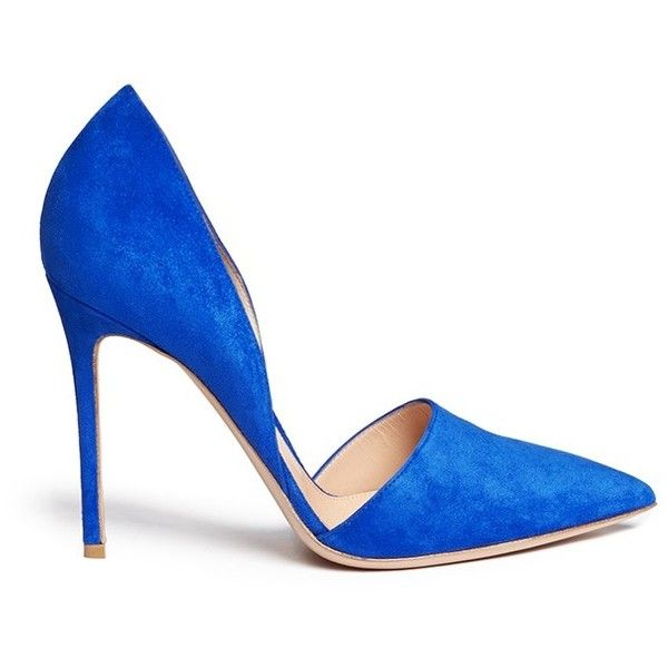 Gianvito Rossi 'Lena' suede d'Orsay pumps (€635) ❤ liked on Polyvore featuring shoes, pumps, heels, sapatos, high heels, blue, blue high heel shoes, blue stilettos, blue shoes and blue d orsay pumps