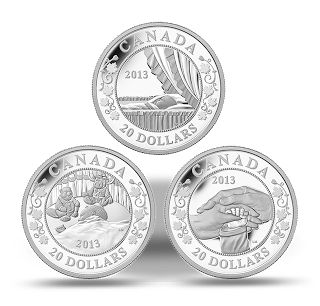 """Canada 20 dollars - coin set of three coins featuring scenes intended to convey the joy and wonder of the first months with a precious newborn. The scenes are entitled: """"Sweet dreams"""", """"Tender bonds"""", and """"A hopeful future""""."""