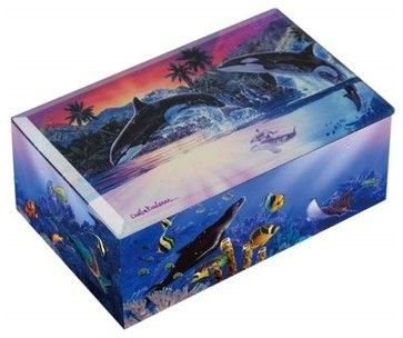 Killer Whales Breaching Water World of Orcas Colorful Music Box tropical-kids-decor