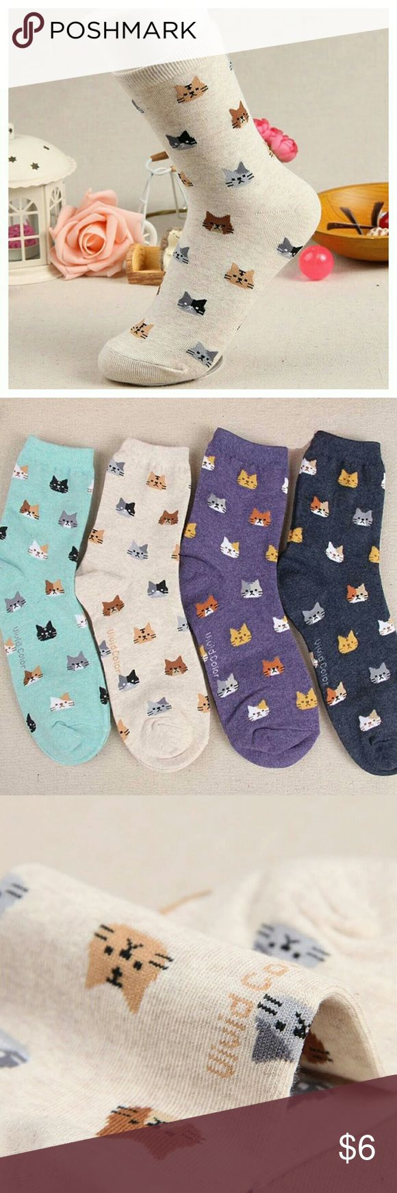 COMING SOON Autumn New Sock Animal Cartoon Cat Great for winter,  purrrrfect for cuddle weather <3 OS fits all,  100% Cotton 3 colors available (Cream,  Mint,  Navy)  Bundle for discount <3 Cat Life Accessories Hosiery & Socks