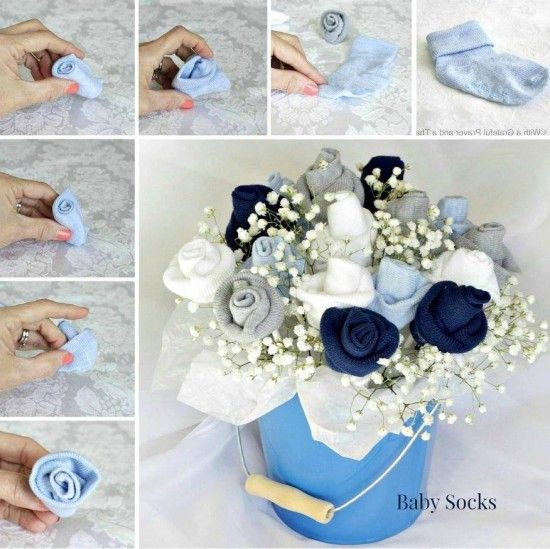 Baby Sock Rose Bouquet Cupcake Onesies Tutorial Diaper Babies Tutorial