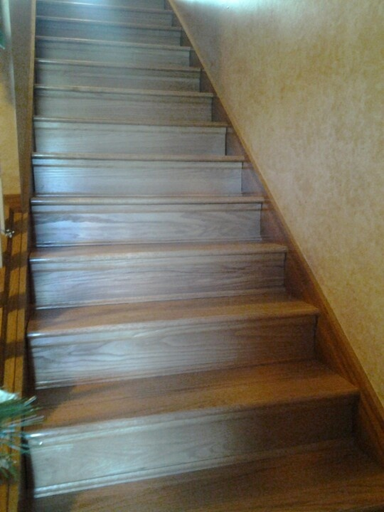 Finally replaced the carpeted stairs with wood retro for Ideas for redoing stairs