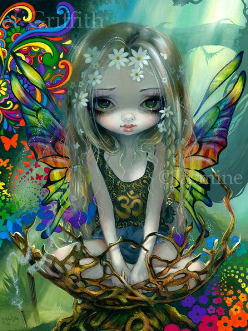 Hippie Fairy Paisley by Jasmine Becket-Griffith hippie fairy painting 1960s art big eyes big eye art fantasy art fairy by Strangeling hippies fairies