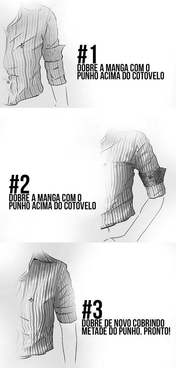 Dobrando a manga da camisa em 3 passos.