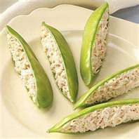 """""""Snap peas and chicken salad"""", what a great appetizer for a brunch or shower! You could substitute plain yogurt for mayo. :)"""