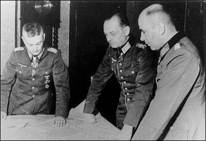 November 1944--Working out the details of Operation Autumn Fog, as ordered by Hitler, are (from left) Field Marshals Walter Model, Gerd von Rundstedt, and General Hans Krebs.