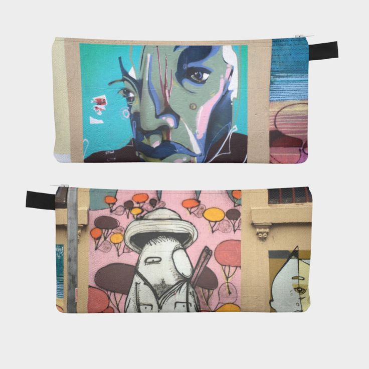 Pencil Case 'Blue Face White Bird' make up/travel pouch by Curlytees on Etsy