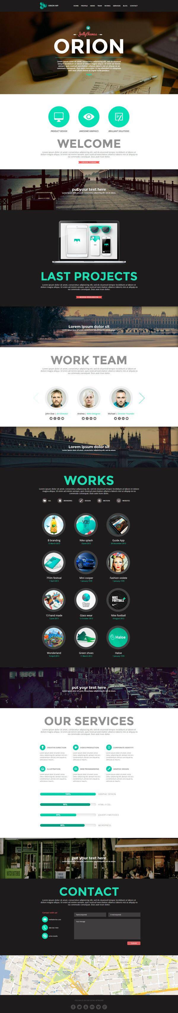 Orion - Responsive One Page Wordpress Template by Zizaza - design ocean , via Behance