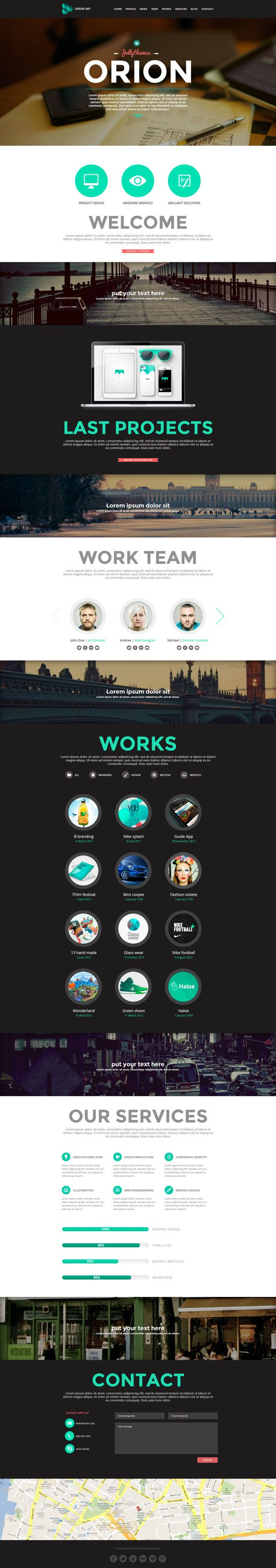 Orion - Responsive One Page Wordpress Template by Zizaza - design ocean , via Behance