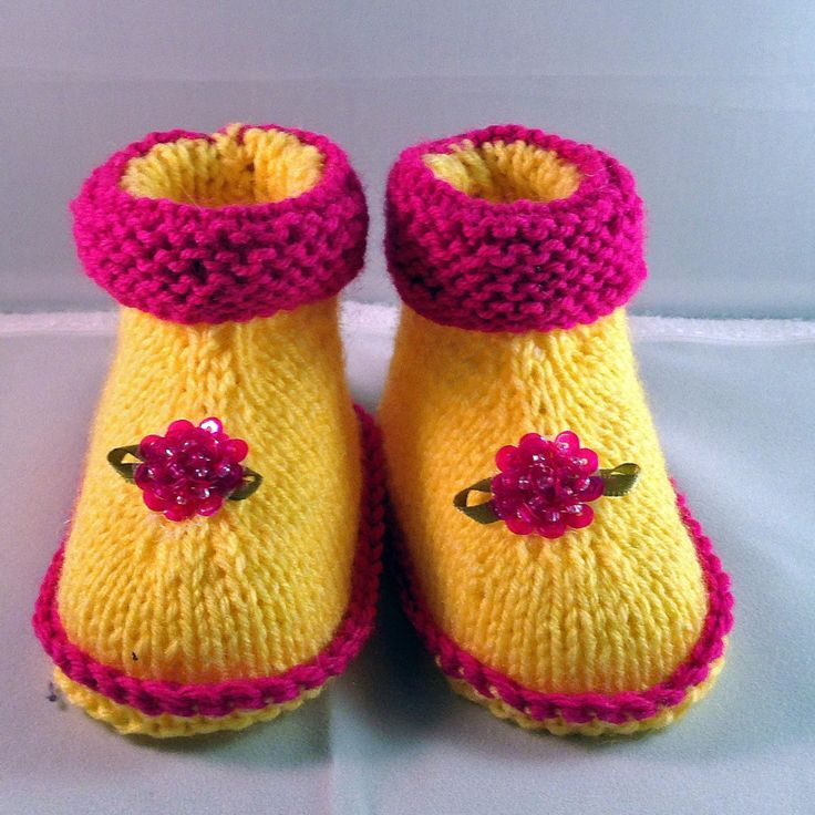 Yellow booties with Pink Flower