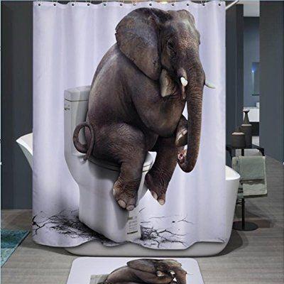 PETGOOD Duschvorhang Neuheit Niedlich Elefant viele schöne Duschvorhänge zur Auswahl, hochwertige Qualität, Wasserdicht, Anti-Schimmel-Effekt 168 x 180 cm