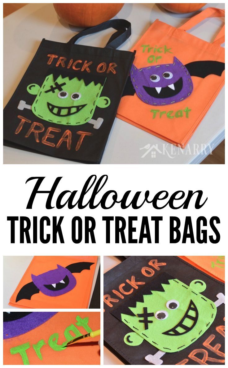 These DIY Halloween Trick or Treat Bags made with felt are such a cute idea! Plus they're sturdy enough to hold lots of Halloween candy as the kids go door-to-door.