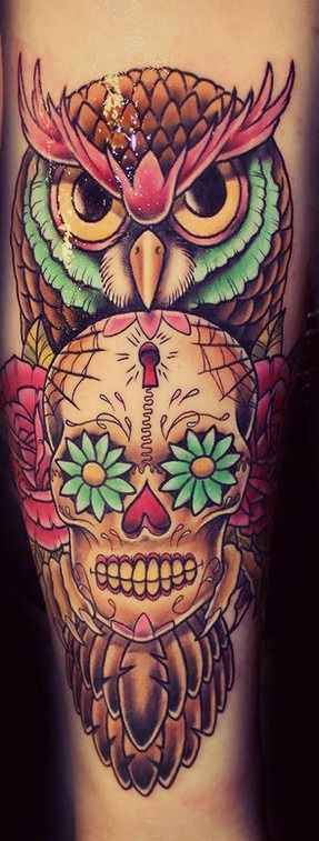 Owl & Sugar Skull | Tatspiration.com - Your home for discovering tattoo ideas and tattoo inspiration.