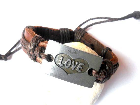 Bracelet cuir marron Love pour homme réglable
