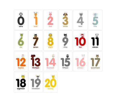 Animal Numbers Flash Cards 1-20 in English / French / German / Spanish / Italian / Japanese, Kids Wall Art, Children's Art
