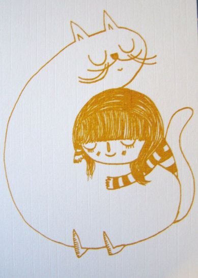 Cat and Girl Gocco Print by Keekipud